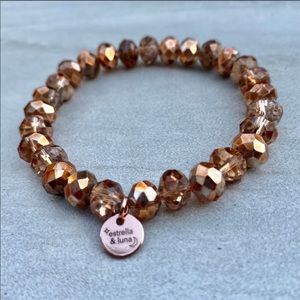 Rose Gold Copper Glass Beaded Bracelet